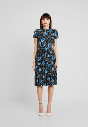 FLORAL SHORT SLEEVE PLEAT DRESS - Day dress - black