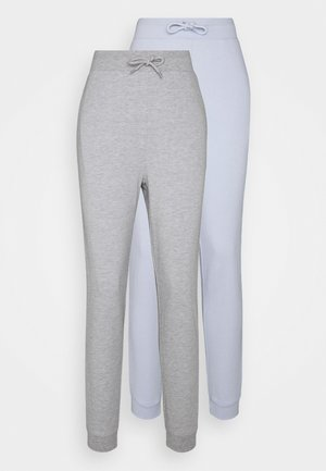 2 PACK - Pantalones deportivos - mottled light grey/light blue