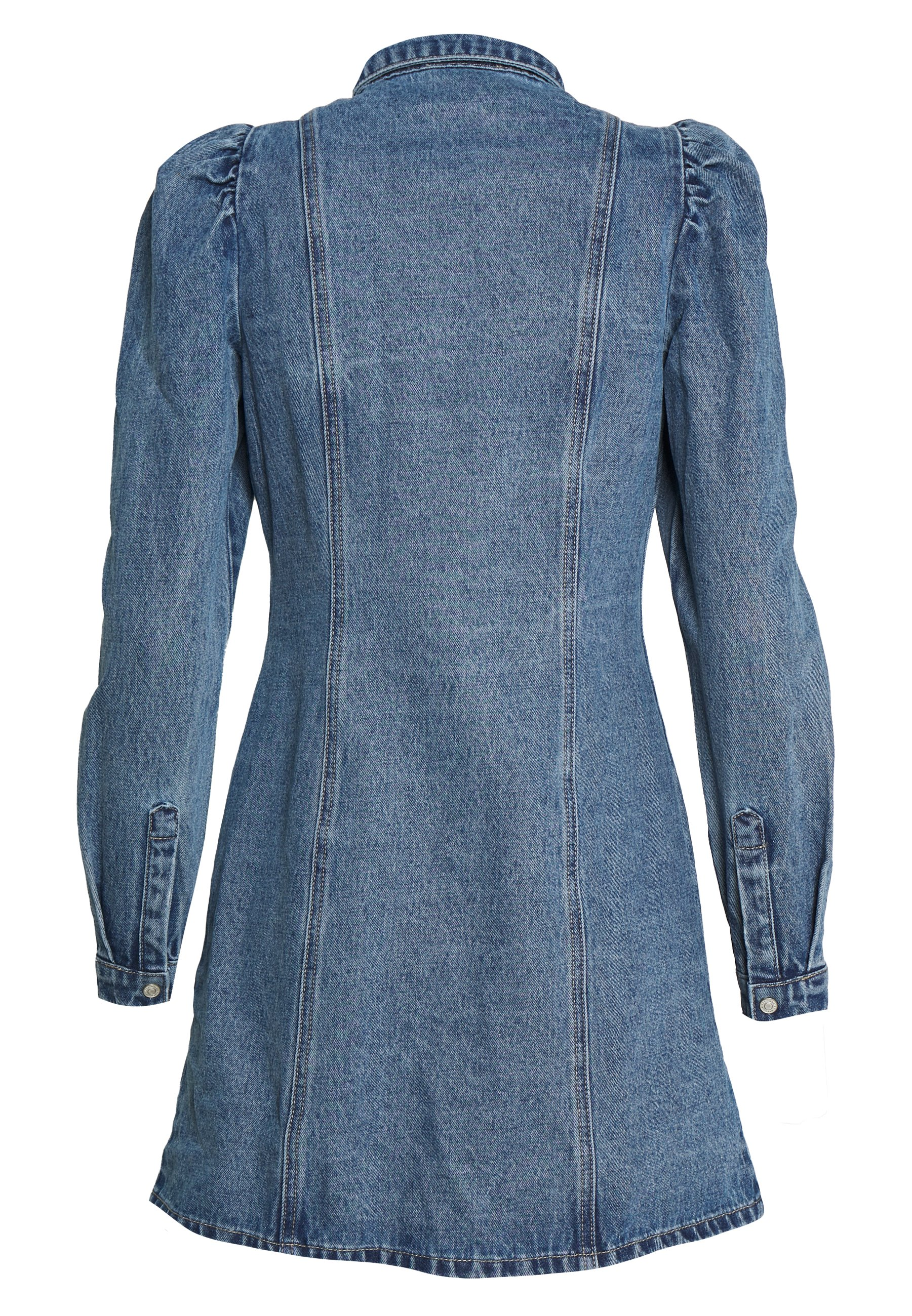NMMARILLE PUFF DRESS Dongerikjole medium blue denim