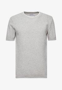 Topman - TEXT CREW - T-shirt - bas - light grey - 4