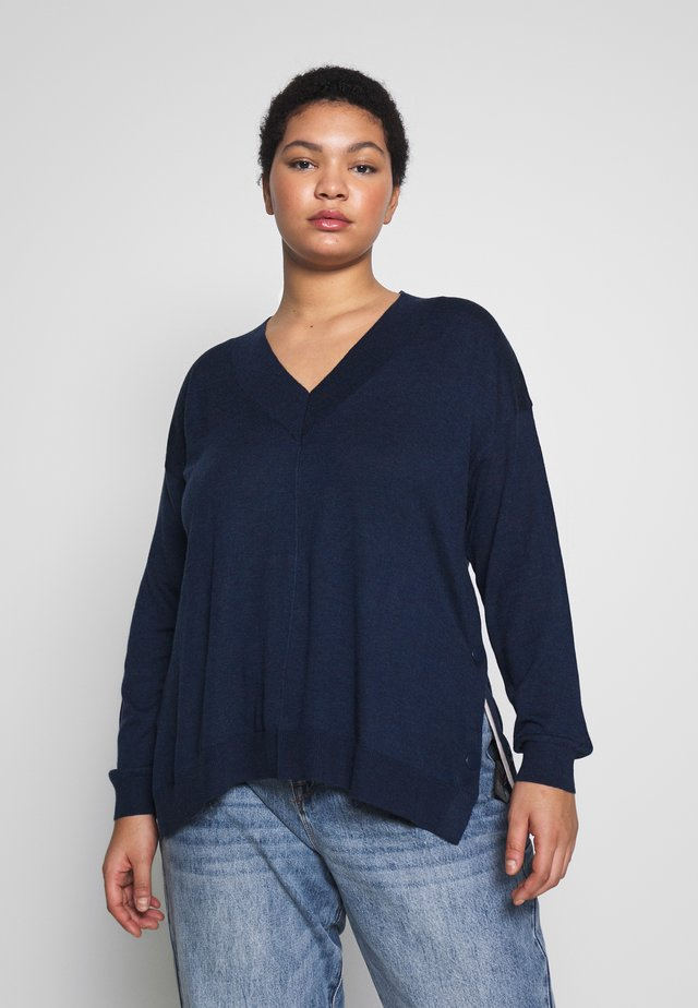 JUMPER WITH CONTRAST SIDE SPLITS - Sweter - navy
