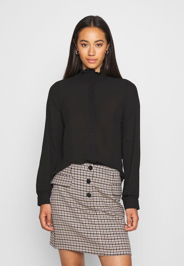VMZIGGA HIGH NECK SMOCK - Button-down blouse - black