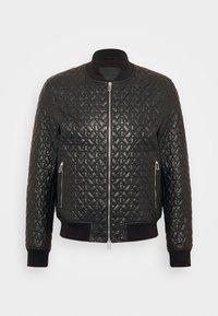 Emporio Armani - BLOUSON - Leather jacket - black - 3