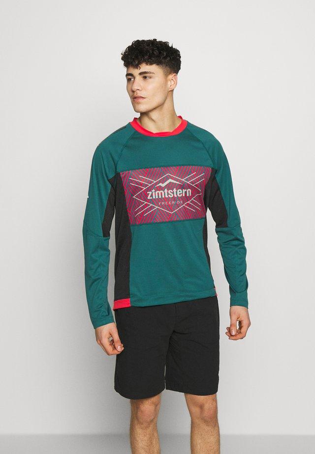 TECHZONEZ MEN - Sportshirt - pacific green/cyber red/granite green