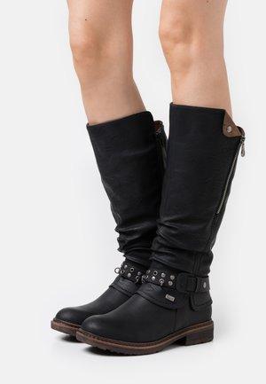 Cowboy/Biker boots - schwarz/kastanie