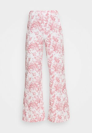 PRINTED WIDE LEG TROUSER - Trousers - white