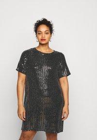 Pieces Curve - PCHAILA DRESS CURVE - Cocktail dress / Party dress - black/silver - 0