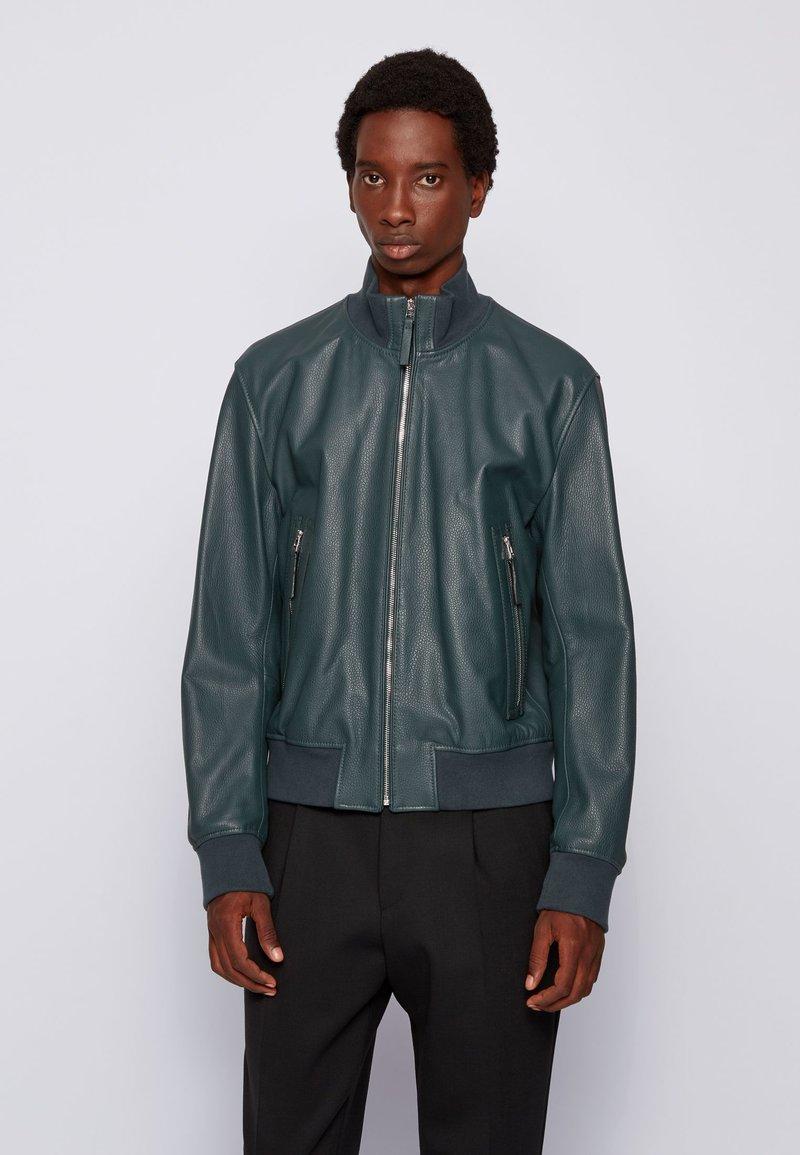 BOSS - NEOVEL - Leather jacket - light green