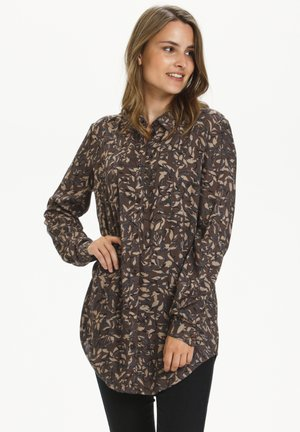 Overhemdblouse - brown leaf print