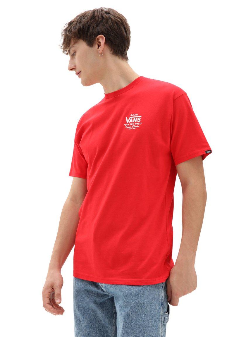 Vans - MN HOLDER ST CLASSIC - Print T-shirt - high risk red/white