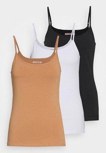 3 PACK - Top - black/white/tan