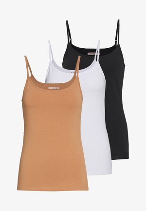 3 PACK - Top - black/white/tan