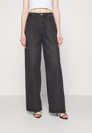HIGH RISE WIDE LEG STRAIGHT - Straight leg jeans - black