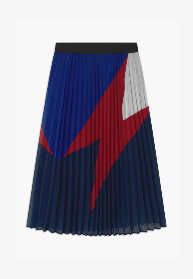 LIGHTENING BOLT PLEATED MIDI - A-line skirt - navy