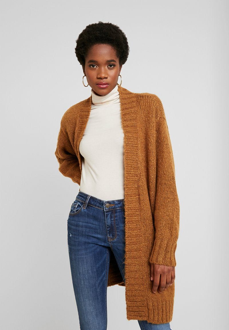 Vero Moda - VMKAKA OPEN COATIGAN - Cardigan - tobacco brown/black