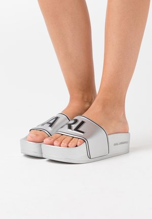 KONDO MAXI PLATFORM SLIDE - Pantofle - silver
