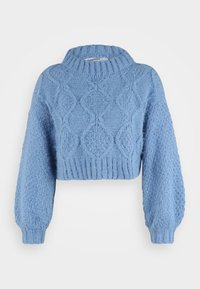 CROP JUMPER WITH LONG SLEEVES AND BOAT NECK - Jumper - heritage blue