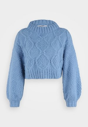 CROP JUMPER WITH LONG SLEEVES AND BOAT NECK - Stickad tröja - heritage blue