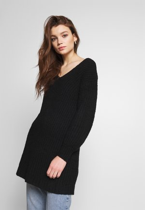 OPEN VEE HILO DRESS - Pletené šaty - black