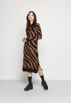 VIRIL CREW NECK MIDI DRESS - Stickad klänning - black