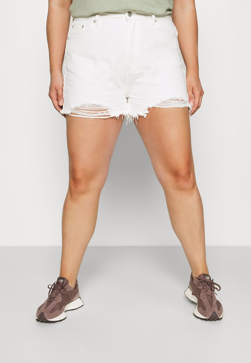 Missguided Plus - EXTREME RIP - Denim shorts - white