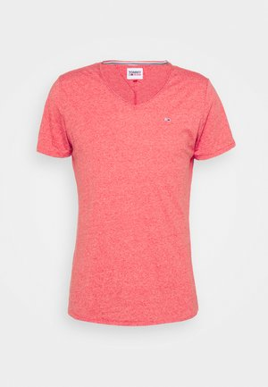 SLIM JASPE V NECK - Basic T-shirt - deep crimson