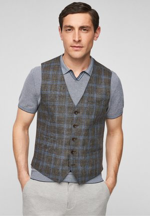 SLIM FIT - Gilet - brown check