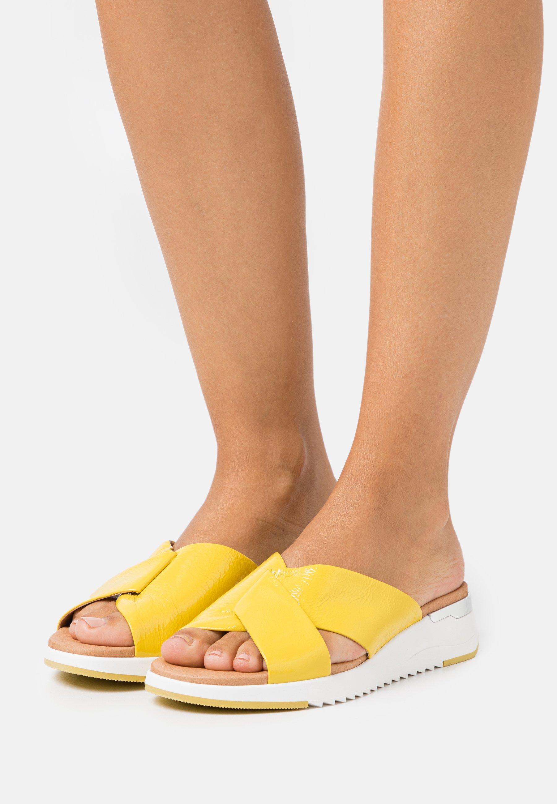 Women SLIDES - Mules - yellow