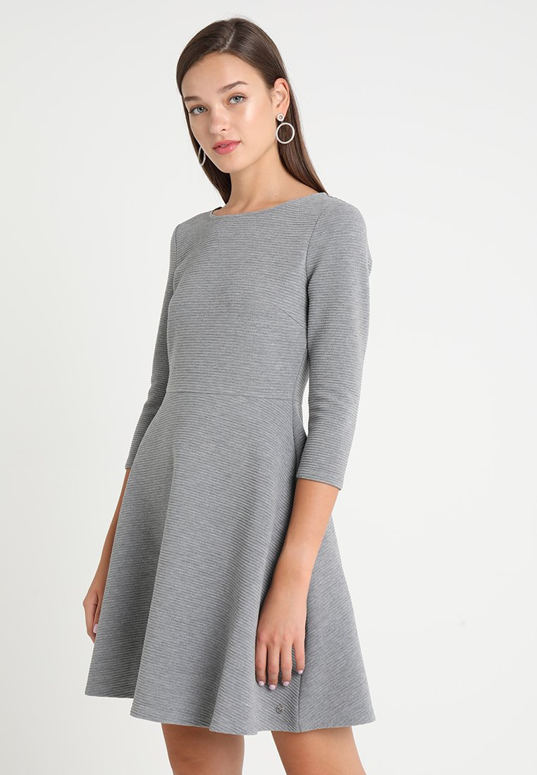 TOM TAILOR DENIM - SKATER DRESS ROUND - Sukienka z dżerseju - middle grey melange