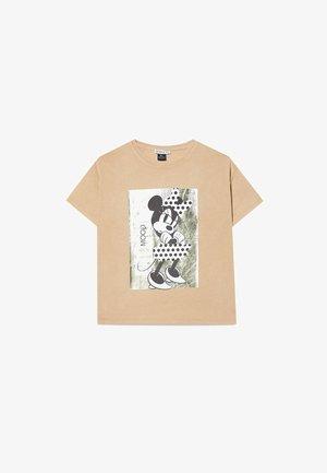 DISNEY MIT FOLIENDRUCK - T-shirt con stampa - mottled brown