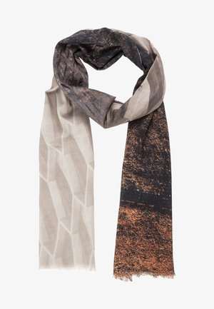 Scarf - dark brown/white