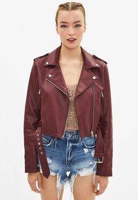 Bershka - Faux leather jacket - bordeaux - 0
