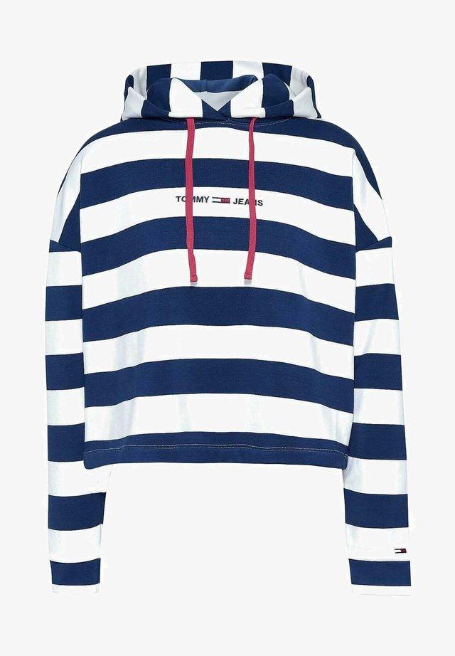 BOXY - Sweat à capuche - navy white striped