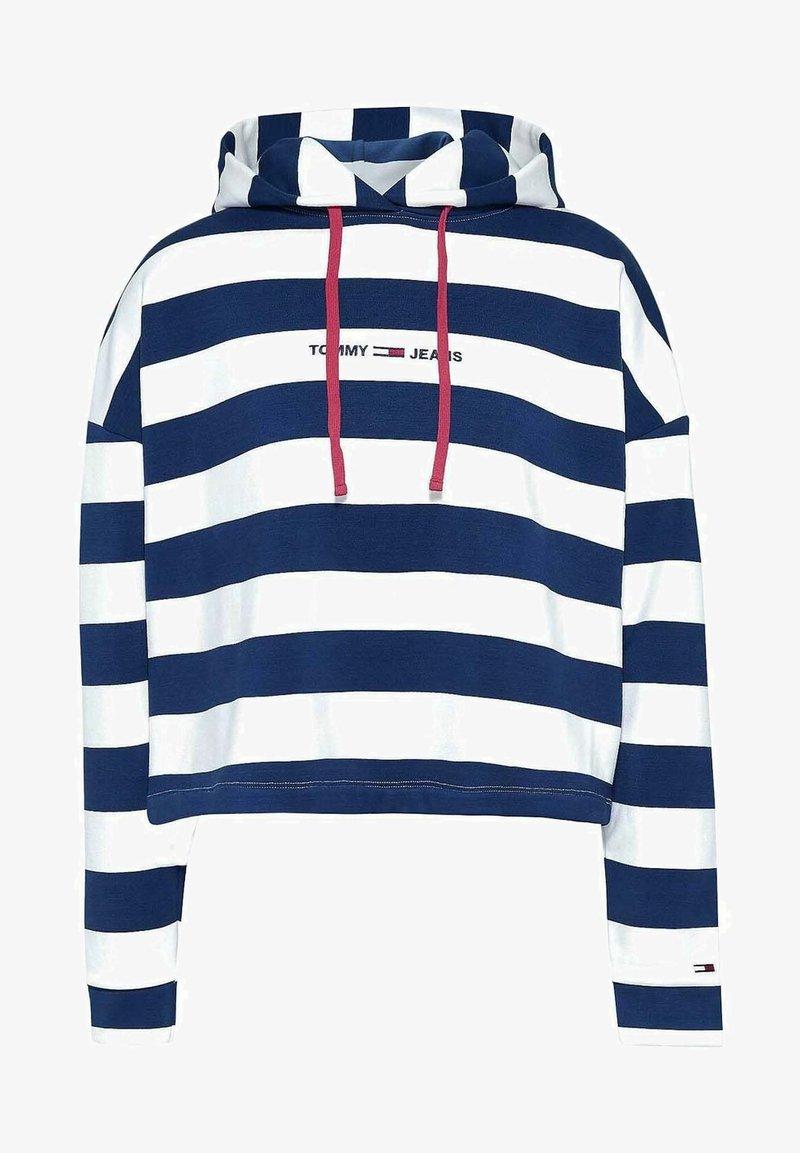 Tommy Jeans - BOXY - Felpa con cappuccio - navy white striped