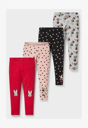 4 PACK - Leggings - Trousers - red/black