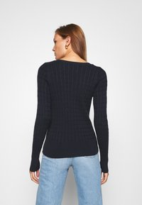 Abercrombie & Fitch - ICON CABLE VNECK - Jumper - navy - 2