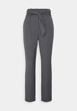 ONLSUNNY PAPERBAG BELT PANT - Trousers - dark grey melange