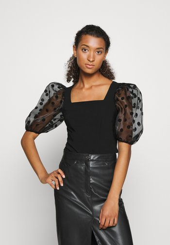 DOTTED ORGANZA SLEEVE BLOUSE - Blouse - black
