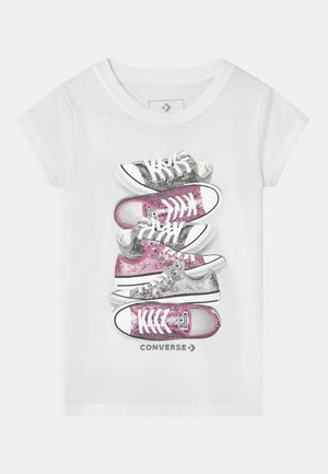 SHOE STACK - T-shirt con stampa - white