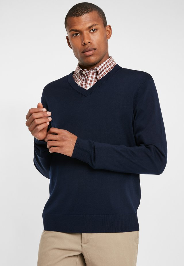 EASY CARE MERINO SWEATER V-NECK NAVY - Jumper - navy