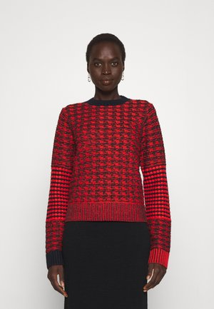 CONTRAST ELBOW PATCH CREWNECK JUMPER - Stickad tröja - bright red/navy