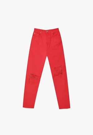 MOM FIT - Straight leg jeans - red