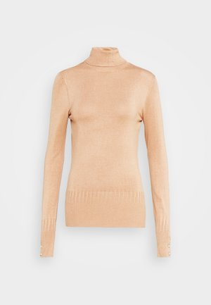 PEARL BUTTON CUFF ROLL NECK - Jumper - oatmeal