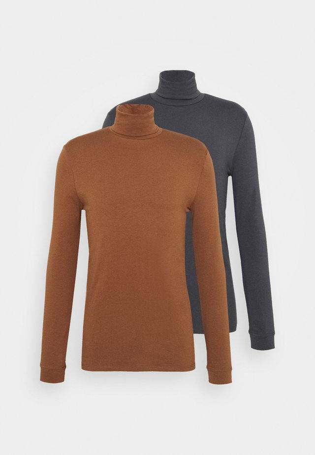 ROLL NECK 2 PACK - Top s dlouhým rukávem - grey/brown