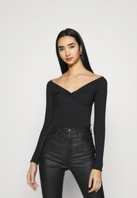 New Look - KNOT FRONT BODY - T-shirt à manches longues - black - 1