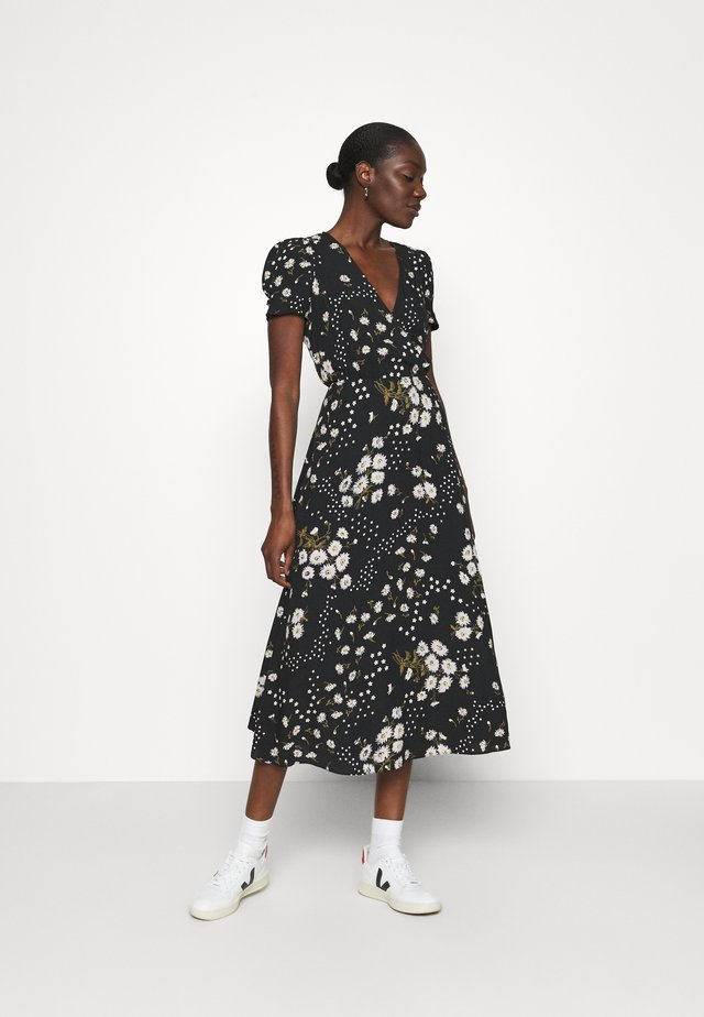 CREWNECK DRESS FLORAL - Day dress - black