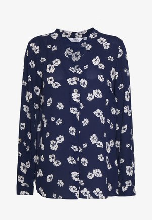 FLORAL DOUBLE BUTTON COLLARLESS ROLL SLEEVE - Blus - navy