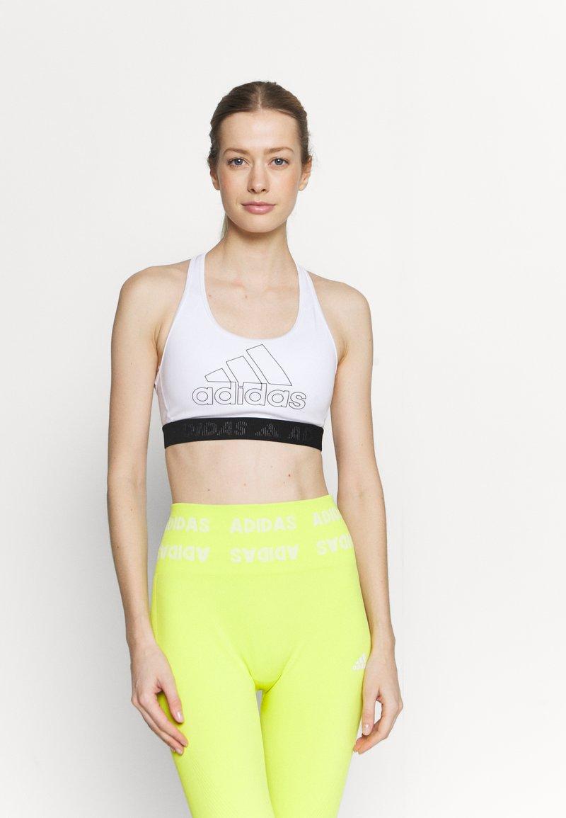 adidas Performance - Medium support sports bra - white/black