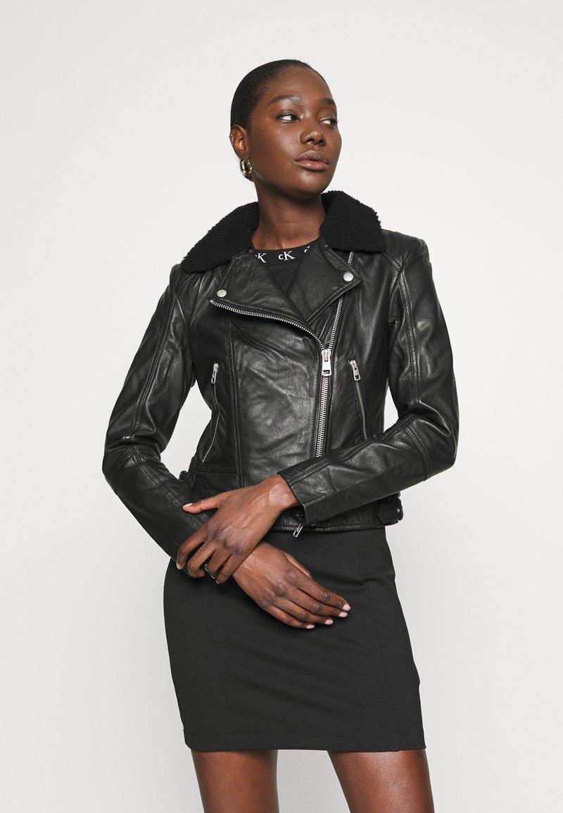 Calvin Klein Jeans - Leather jacket - black
