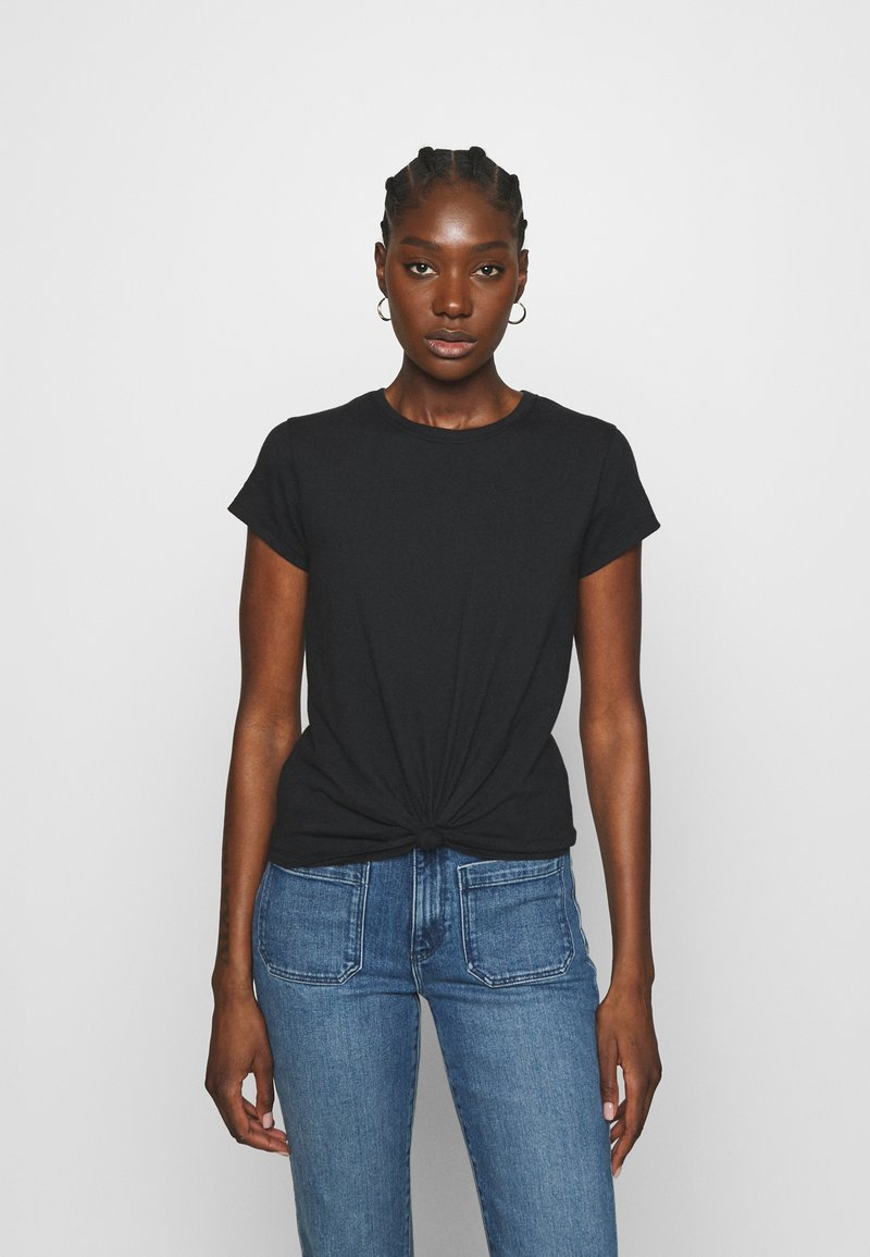 Abercrombie & Fitch - KNOTTED MIDI - Print T-shirt - black